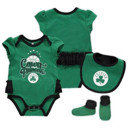 Boston Celtics Girls Newborn & Infant Mini Trifecta Bodysuit, Bib & Booties Set - Kelly Green/Black (Celtic Warrior Outfit)