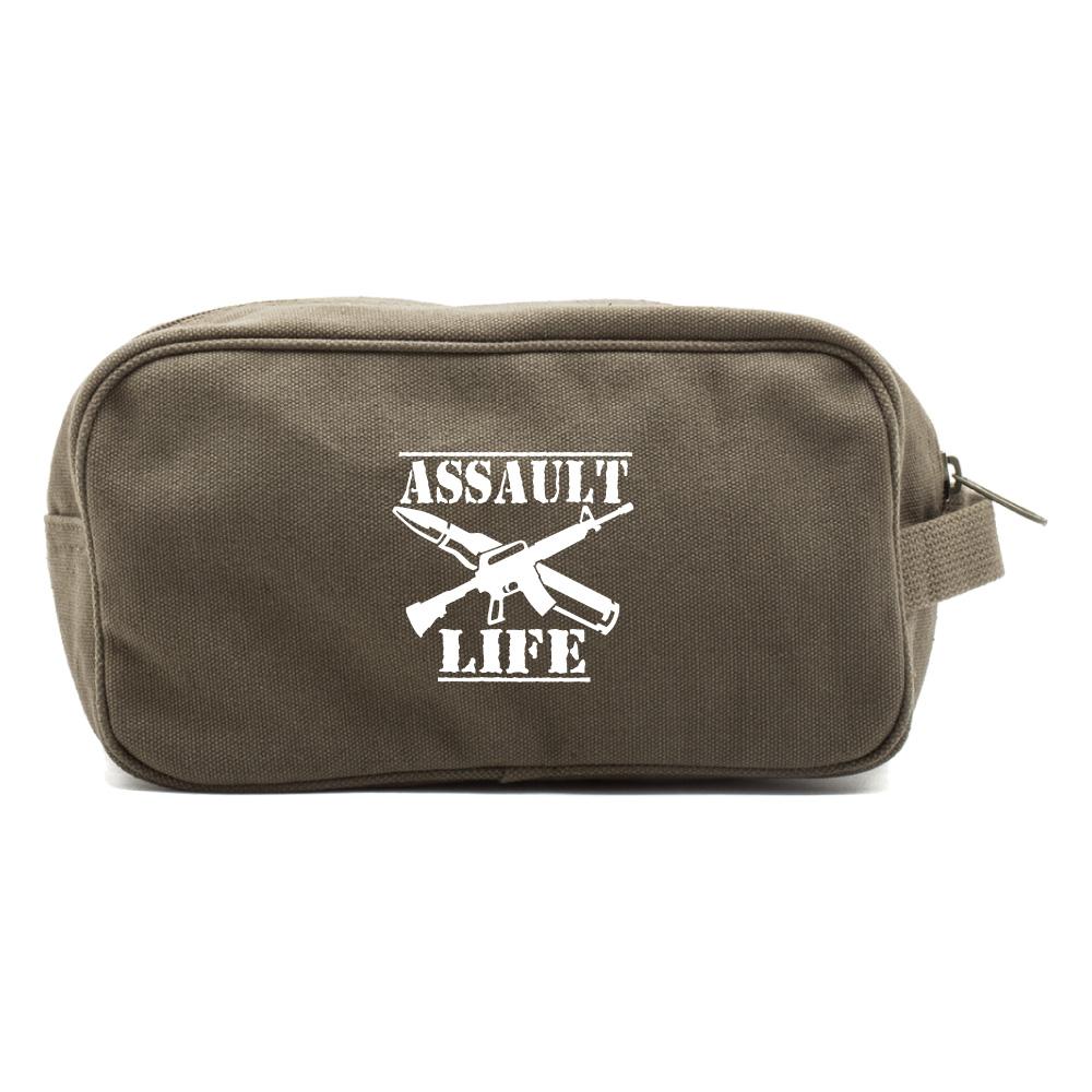 Assault Life Canvas Dual Compartment Shaving Kit Travel Toiletry Bag Case