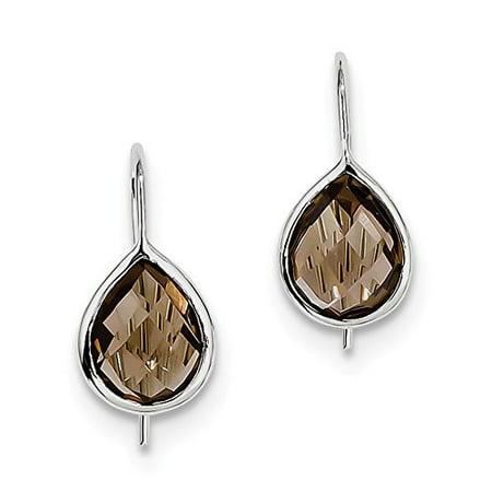 .925 Sterling Silver Smoky Quartz Teardrop Ear Wire Earrings