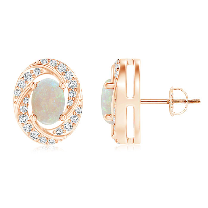 Mother's Day Jewelry Classic Prong Set Opal Pinwheel Stud Earrings with Diamonds in 14K Rose Gold (7x5mm Opal)... by Angara.com