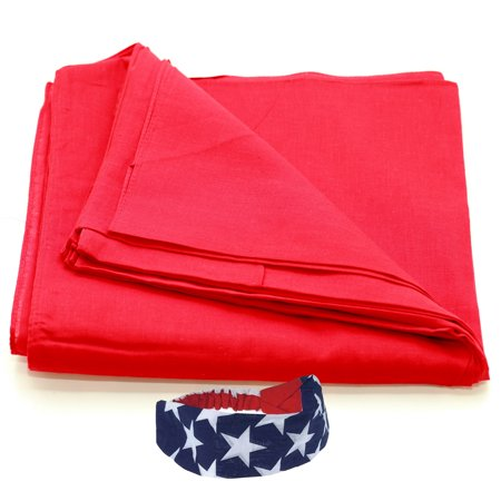 Bandanas Cotton 12 Pack With a American Flag Bandana Headband (Plain Red 856affc7388