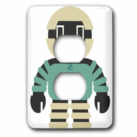 3dRose Cute Teal, Black, and Off White Square Robot, 2 Plug Outlet (40% Off Outlet)