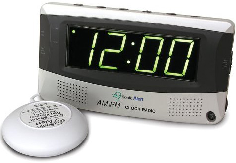 Click here to buy Sonic Alert SBR350ss Sonic Boom Vibrating Alarm Clock with AM FM Radio by Sonic Alert.