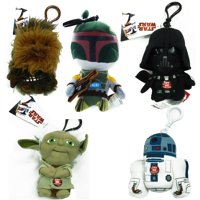 "Star Wars Vader 4"" Talking Plush Clip On Set of 5 with R2-D2, Yoda, and More"