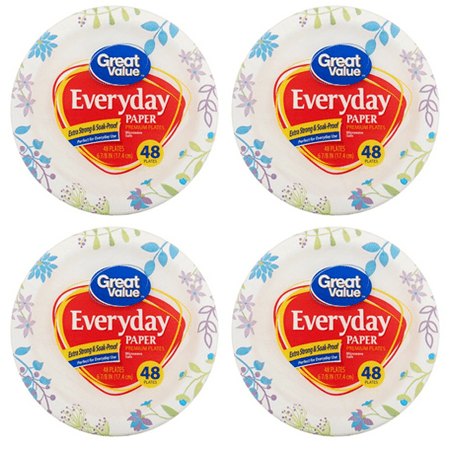 (4 Pack) Great Value Everyday Paper Plates, Snack/Dessert, 48