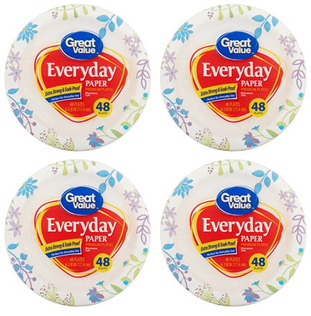 """(4 Pack) Great Value Everyday Premium Paper Plates, 6"""", 48 Count"""