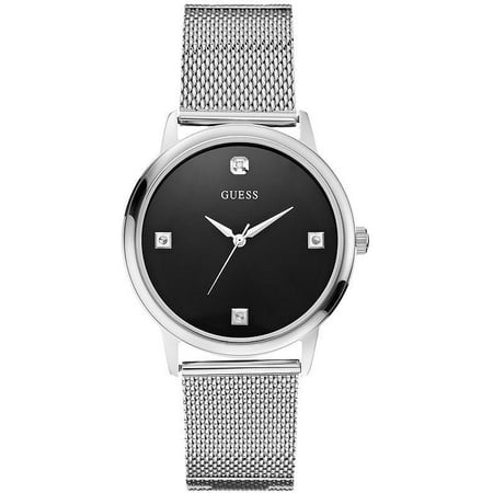 Diamond Accent Stainless Steel Mesh Mens Watch (Guess Black Diamond Accent Watch)