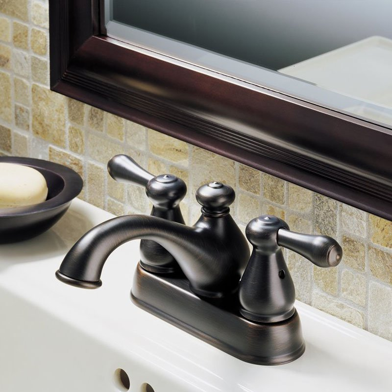 Delta Two Handle Centerset Bathroom Lavatory Sink Faucet, Bronze 2578LF-RBTP
