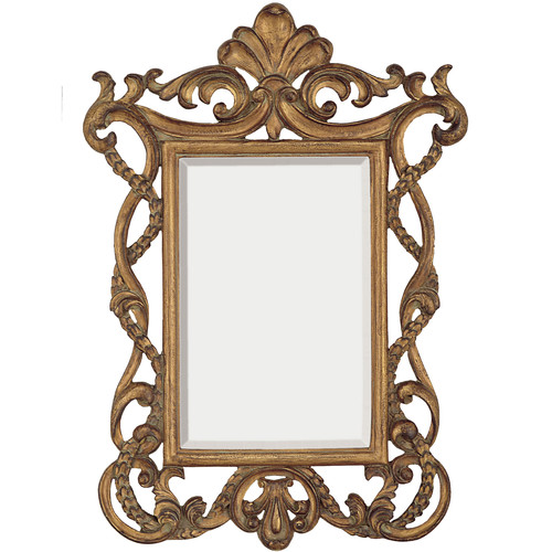 Majestic Mirror Elegant Traditional Rectangular Gold Beveled Glass Wall Mirror