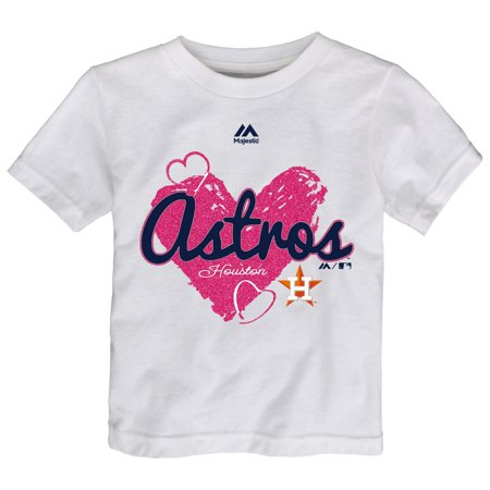 Houston Astros Majestic Girls Toddler Triple Heart T-Shirt - White (Hot Girls In Houston Tx)