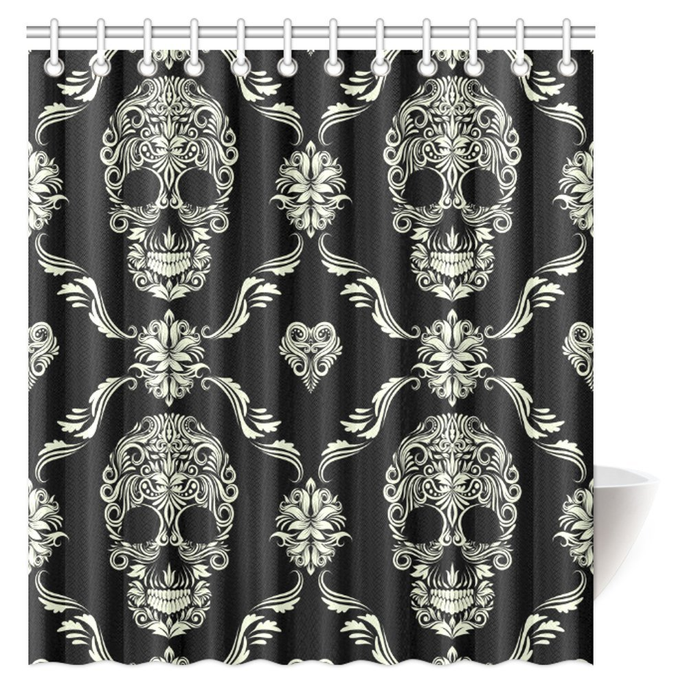 Superbe MYPOP Gothic Shower Curtain, Ornament With Skull Goth Skeleton Floral  Design In Baroque Style Fabric