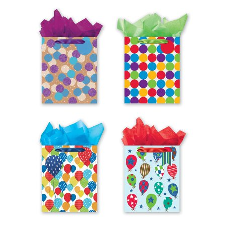 (4 Large Party Gift Bags, Birthday Gift Bags - Set of 4 Happy Birthday Gift Bags w/Tags & Tissue Paper)
