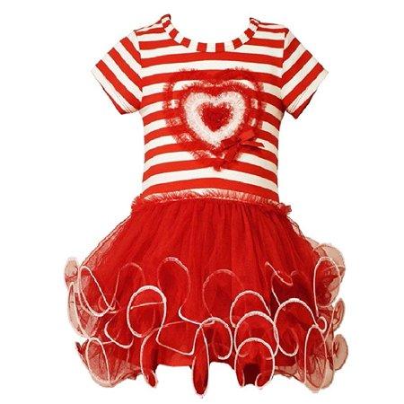 Bonnie Jean Little Girls Stripe Heart Tutu Valentine Day Dress (3T, Red) (Stores That Sell Tutus)