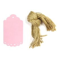 Wrapables® 10 Gift Tags/Kraft Hang Tags with Free Cut Strings for Gifts, Crafts & Price Tags, Small Scalloped Edge (Pink)