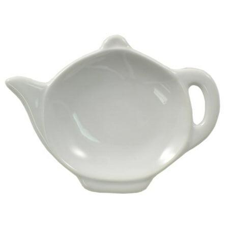 White Porcelain Teapot Shaped Tea Bag Holder Caddy - 3 1/2 x 4 3/4 0, Teabag holder measures 3 1/2