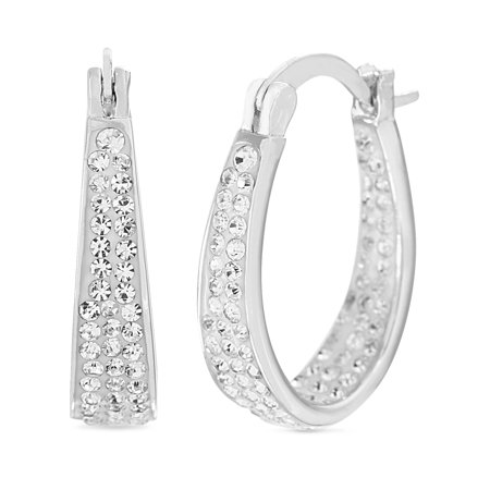 Lesa Michele Women's Faceted Crystal U-Shaped In & Out Hinged Hoop Earrings in Rhodium Plated Sterling Silver Made with Swarovski Crystals (Color: Crystal) Crystal Silver Plated Brooch
