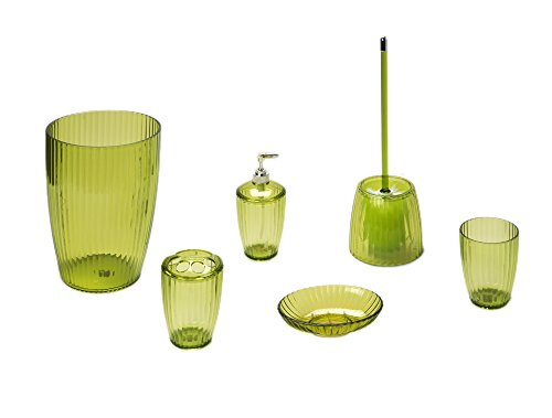 Palm Green, Ribbed 5 Piece Acrylic Bath Accessory Set by Carnation Home Fashions