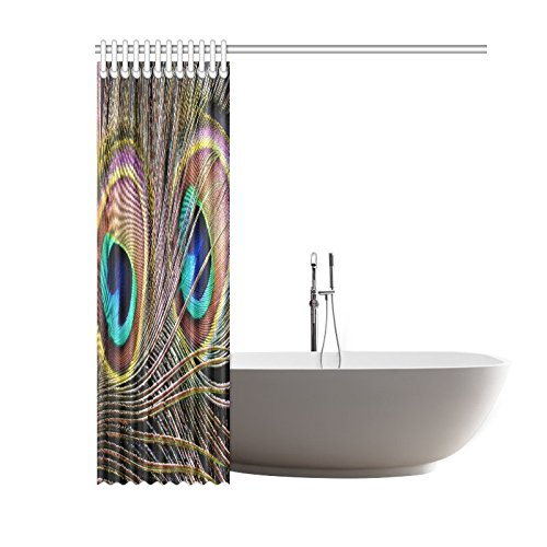 GCKG Beautiful Peacock Feather Home Decor Polyester Fabric Shower Curtain Bathroom Sets with Hooks 60x72 Inches - image 2 de 3