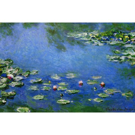 Lilies Oil Painting - Claude Monet Water Lilies Nympheas 1906 Oil On Canvas French Impressionist Painting Poster - 12x18 inch