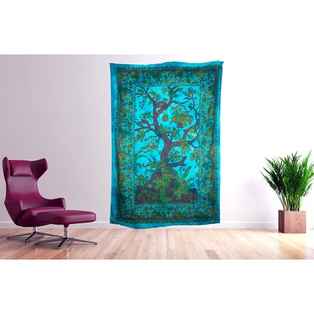 Tribe Azure Wall Tapestry Tree of Life Large Wall Hanging Art Colorful Boho Hippie Bedding Nature Home Decor Decorative Collage Dorm Living Room Bedroom Yoga Bright Bohemian Colorful