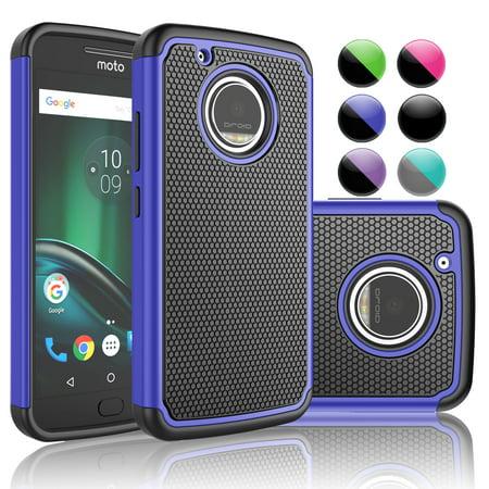 Motorola G5 Plus Case,Moto G5 Plus Case,[Blue/Black] Njjex 2-Piece Protective Rugged Rubber Scratch Resistant Plastic Case Cover For Motorola Moto G 5th Gen Plus ()