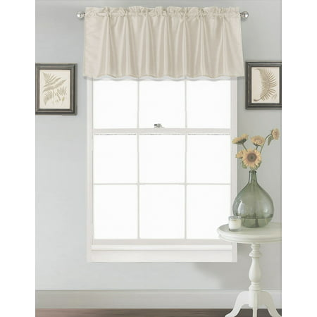 18 Inch Valance -  (S18) IVORY OFF WHITE 1PC Elegant Straight Faux Silk Rod Pocket Swag Waterfall Valance, 55