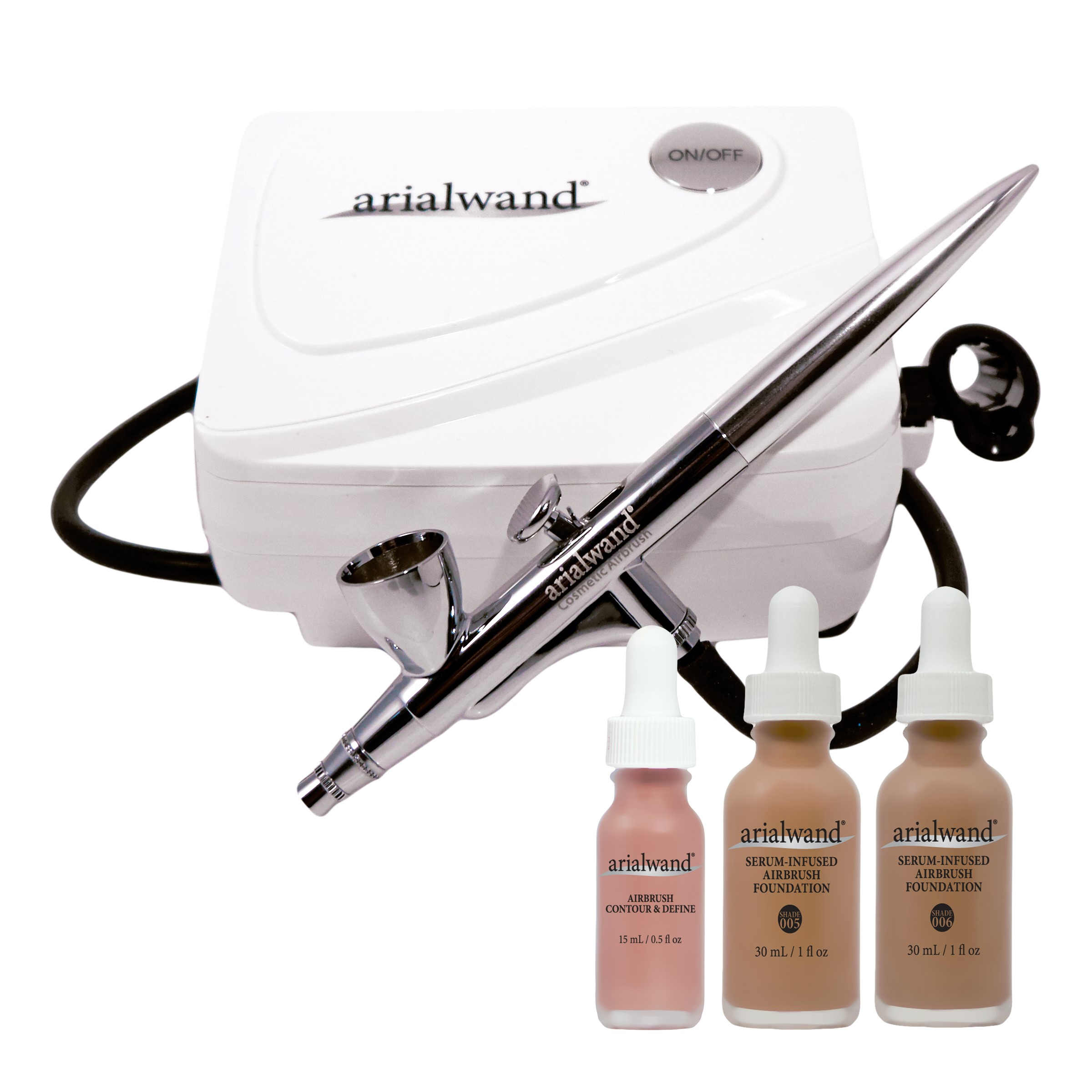 Arialwand Airbrush Kit with Serum Infused Foundation, Tan, 2 Ct