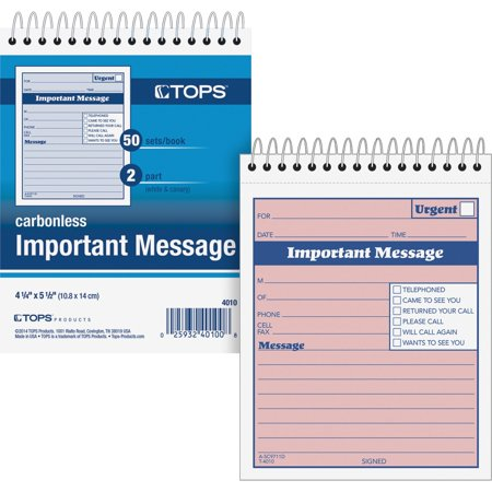 TOPS, TOP4010, 1CPP Duplicate Important Message Book, 1 Each, Pink ()