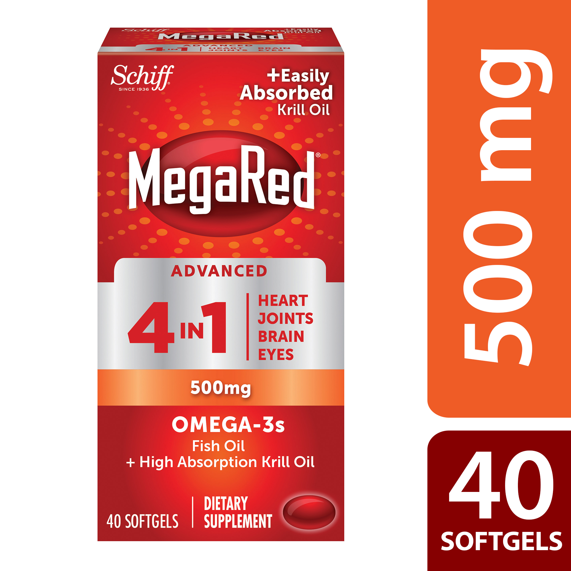MegaRed Advanced 4 in 1 Omega-3 Fish Oil + Krill Oil Softgels, 500 Mg, 40 Ct