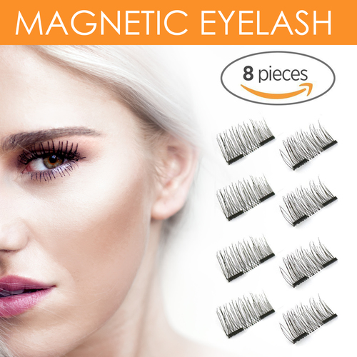 8x Enhanced Version 3D Reusable No Glue Magnetic False Eyelashes Set for Natural Look - Fake Lashes Extensions Premium Quality