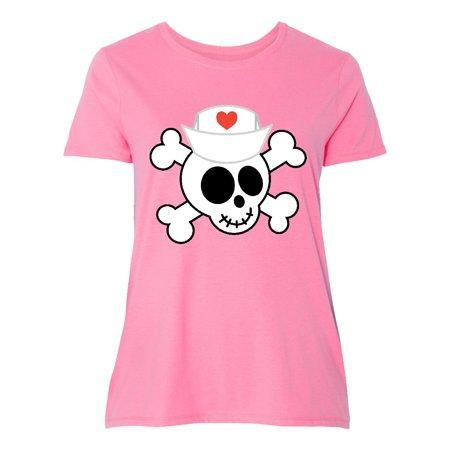 Nurse Skull Funny Women's Plus Size T-Shirt - Plus Size Nurse