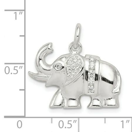Sterling Silver CZ Elephant Charm QC5068 (16mm x 22mm) - image 2 de 3