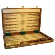 18 Inch Etched Wood Folding Backgammon Set