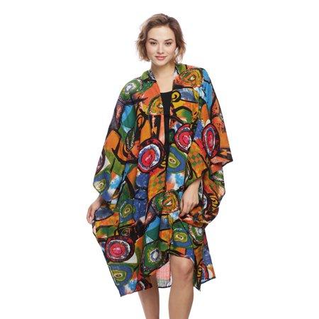 Womens Stylish Abstract Pattern Print Kimono Oversized Top Outerwear for Spring Summer Fall Season (Kimono Jacket Pattern)