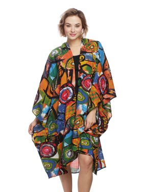 47c4011fb48a Product Image Womens Stylish Abstract Pattern Print Kimono Oversized Top  Outerwear for Spring Summer Fall Season