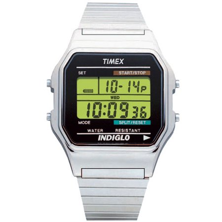 Timex Men's Classic Digital Watch, Silver-Tone Stainless Steel Expansion Band