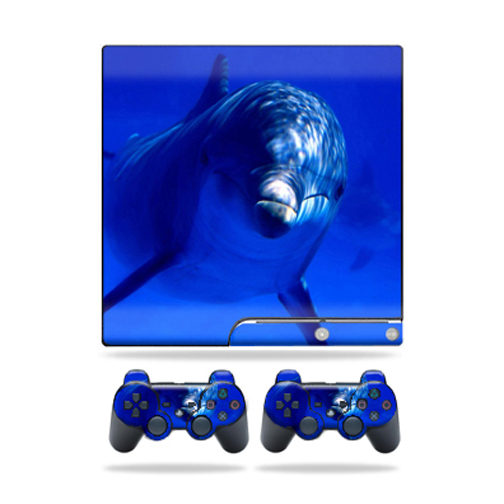 Mightyskins Protective Vinyl Skin Decal Cover for Sony Playstation 3 PS3 Slim skins + 2 Controller skins Sticker Dolphin