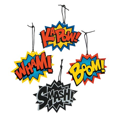 IN-13721931 Magic Color Scratch Superhero Word Ornaments - Superhero Word Bubbles