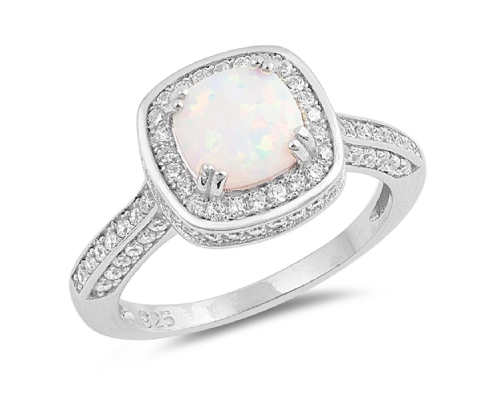 Cushion Cut White Simulated Opal Center Cubic Zirconia Mystere Ring Sterling Silver by