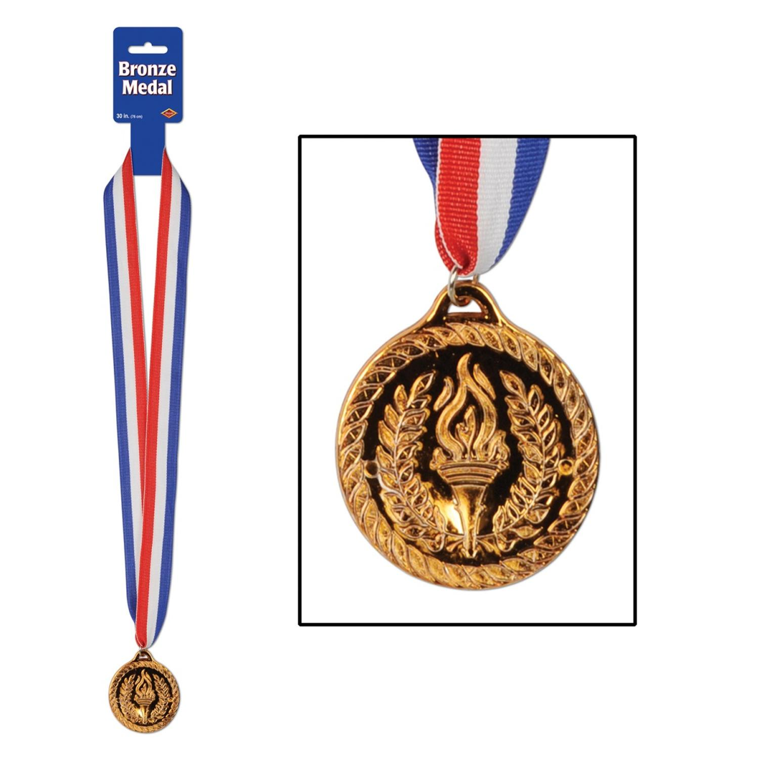 """Club Pack of 12 Red, White and Blue Ribbon with Bronze Medal Necklaces 30"""""""