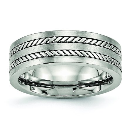 Stainless Steel Brushed and Polished Twisted 7mm Band Ring 11.5 Size - image 6 de 6
