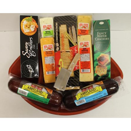 Holiday Football Party Favorites Gourmet Sausage  Cheese And Cracker Gift Basket