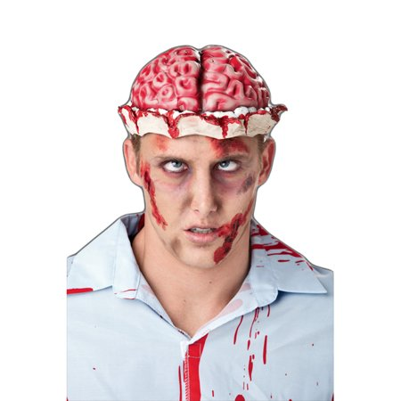 Zombie Brain Fake Headpiece Hat Wig Skull Cap Bloody Horror Adult Costume](Halloween Jello Brain)