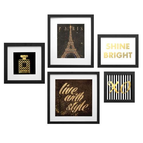 Star Creations ''Paris Collage'' 5 Piece Framed Graphic Art Set