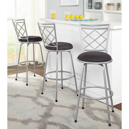 The Three Piece Avery Adjule Height Metal Bar Stool Set Includes Elegant Counter Stools That Each Feature A Cross Back Design And Swivel Seat