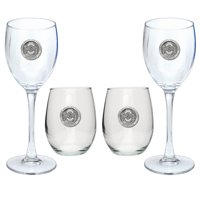 Ohio State University Buckeyes Goblet Set Stemmed and Stemless Wine Set