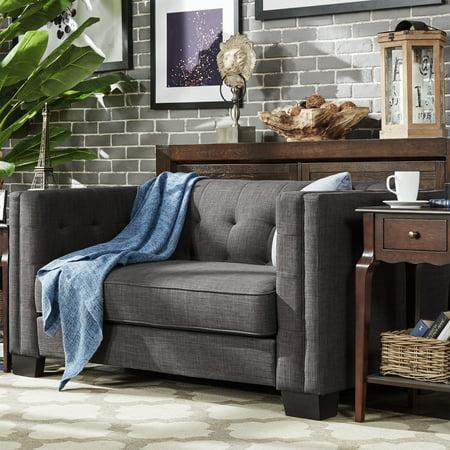 Chelsea Lane Tufted Love Seat, Dark Gray Linen