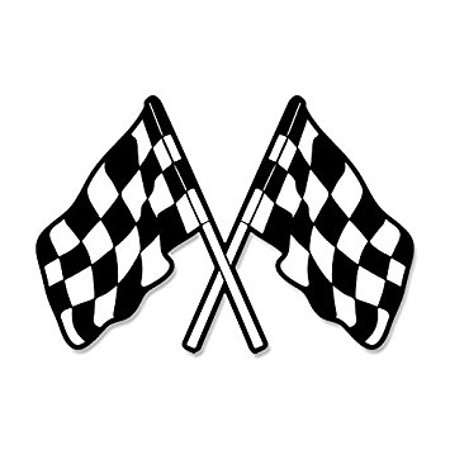 Dual Checkered Flags Shaped Sticker Decal (nascar car racing win) Size: 3 x 5 inch