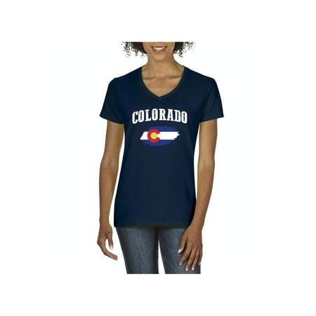 Colorado State Flag Women V-Neck T-Shirt Colorado State University Clothing