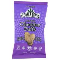 Vegan Rob's Cheddar Puffs Cheddar, 1.25 Oz, Pack Of 24